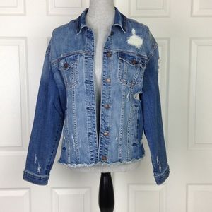 Hollister Ripped Stretch Denim Jacket SZ M